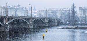 snow-covered bridge