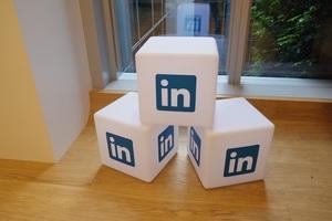 LinkedIn logo on blocks