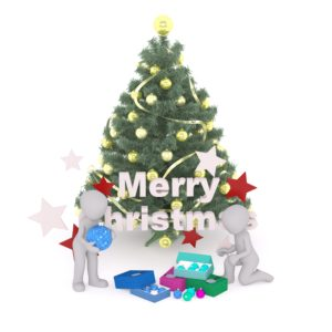 Christmas Tree with Merry Christmas message, characters, and gifts
